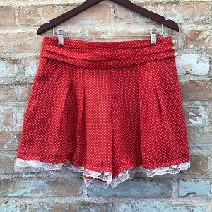 Red Shorts High Waist Polka Dot Chiffon Skort